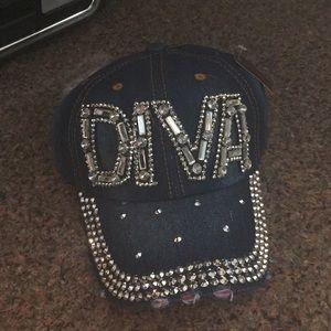 Blinged out DIVA baseball cap